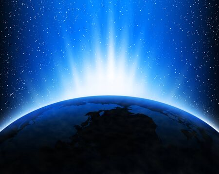 Illustration with Earth in space, light rays and stars Stock Illustration - 12391266