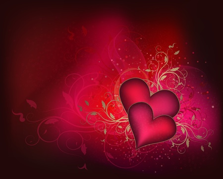 Valentines vector background with floral design and hearts Vector
