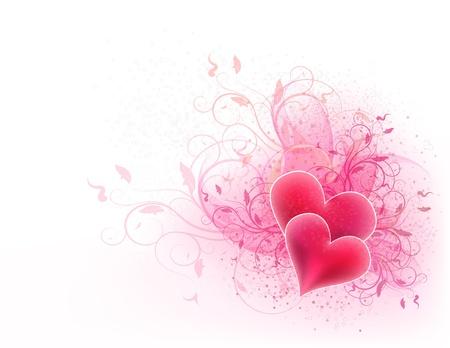 romanticismo: San Valentino vettore sfondo con disegno floreale e cuori