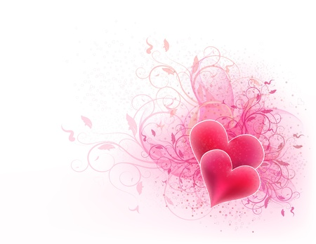 pink hearts: Valentines vector background with floral design and hearts