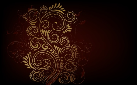 red swirl: Design black, red and gold vector ornate background