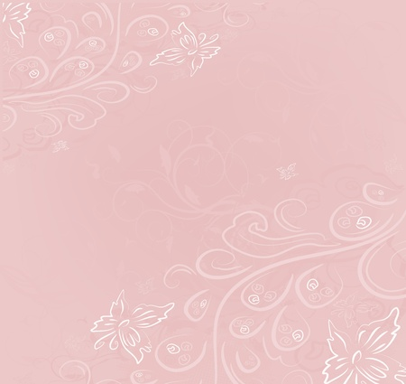 flower border pink: Design vector ornate vintage background Illustration