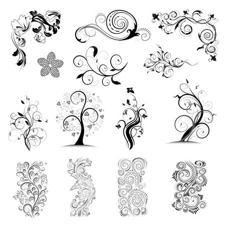 Collection vector floral ornate design elements