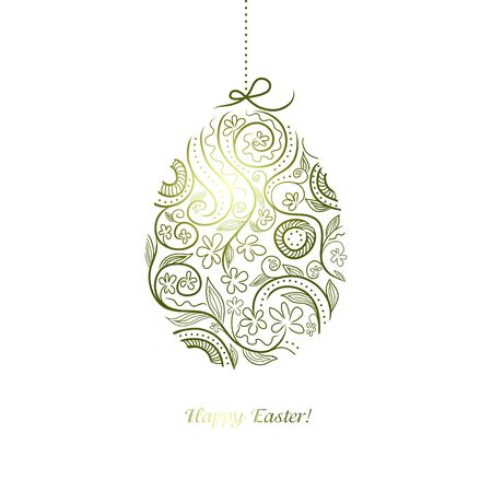 Easter vector decorative egg with floral ornate design Stock Vector - 12966743