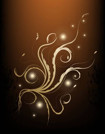 brown swirl: Beauty Brown And Golden Floral Background Illustration
