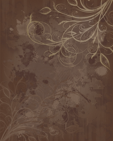 gold brown: Grunge Vector Floral Brown And Golden Background With Ornate Design