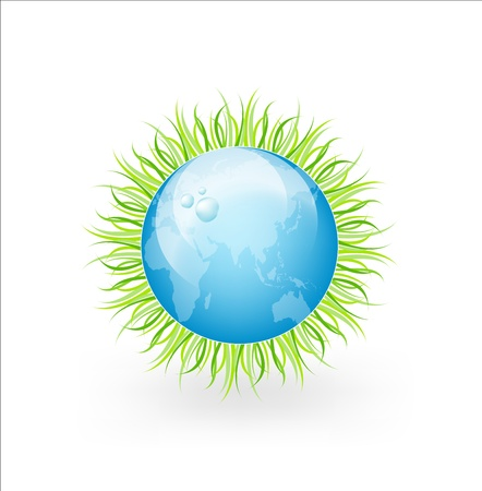 Isolated Globe With Grass And Water Drops On A White Background Stock Vector - 13883033
