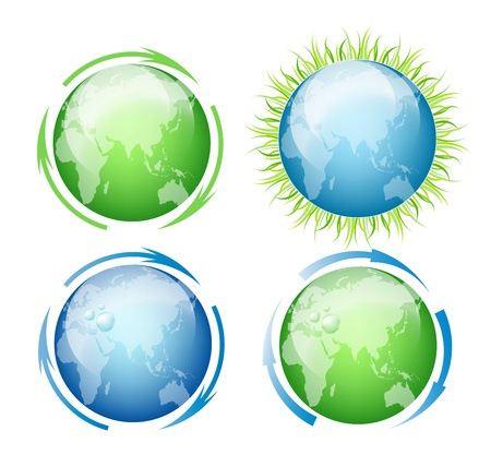 Isolated Globes With Grass And Water Drops On A White Background Vector