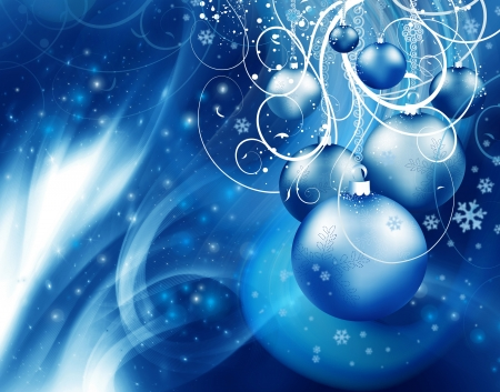 Abstract Christmas background with blue event balls Stock Photo - 15314251