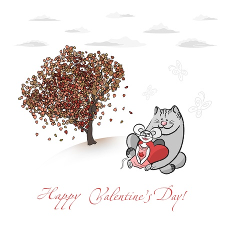 Valentines Card With Love Tree, Cat And Mouse Stock Vector - 17525884