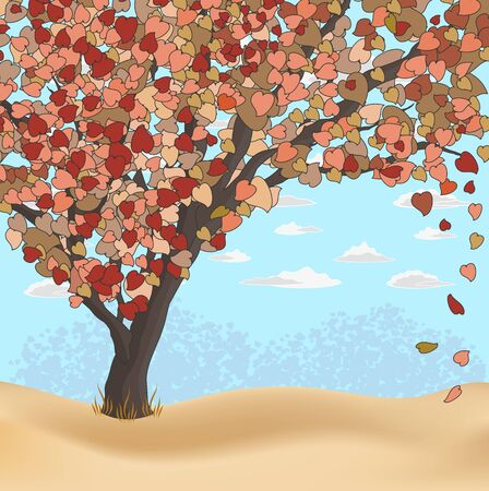 Nature Background with tree on the lawn Vector
