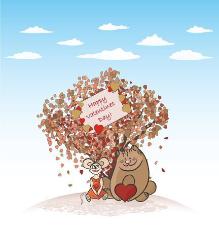 Valentines Card With Love Tree, Cat And Mouse (contains transparency effects) Vector