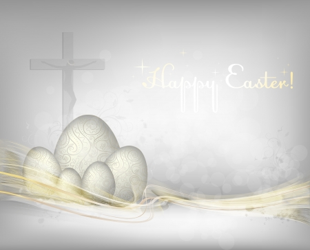Easter background with golden waves.   Vector