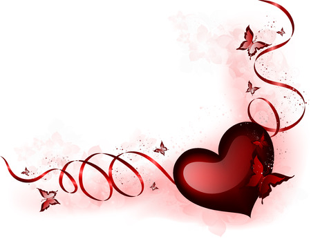 Valentines Background With Design Heart And Butterflies Vector