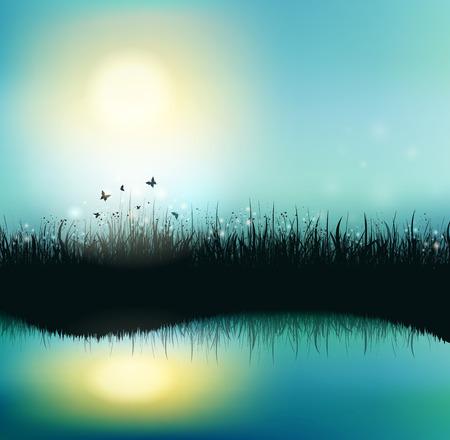 Estate sfondo con erba, sole brillante e farfalle Vettoriali
