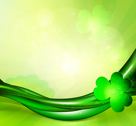 St. Patrick's background With Green Waved Lines And Clover Vector