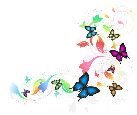 chromatique: Fond gris avec des papillons et floral fleuri Illustration