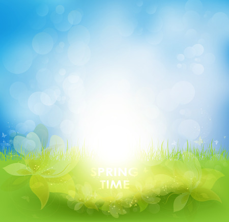 yellow butterfly: Spring Background With Flower, Sun Rays And Butterflies