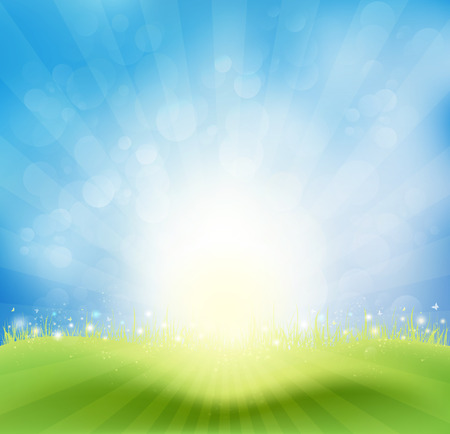 Spring Background With Sky, Sun Rays And Butterflies Vectores