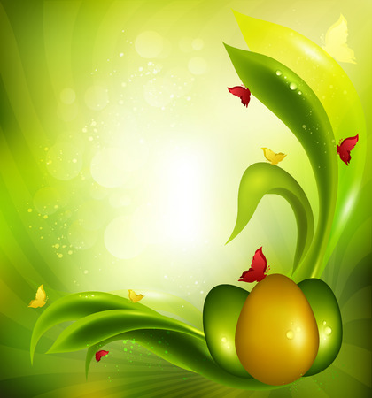 hot spring: Easter Background With Eggs, Grass, Sun And Butterflies