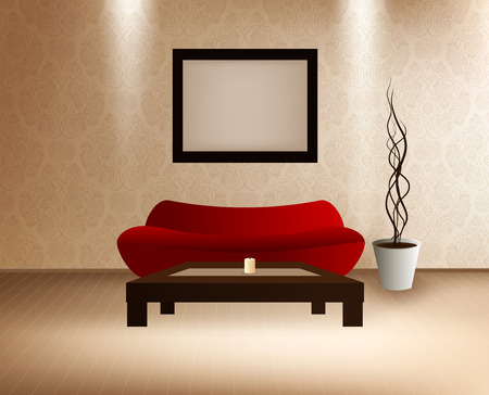 coffee table: Modern Interior with red sofa, coffee table and frame with picture Illustration