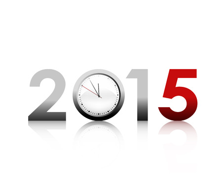 new beginnings: New Year 2015 And Clock Illustration
