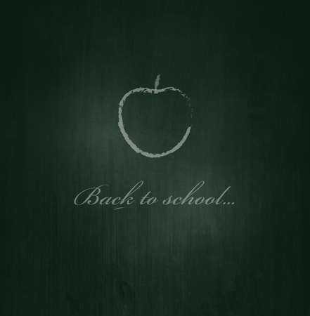 Green Blackboard With Text And Apple