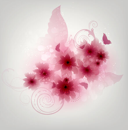 pink butterfly: Floral Design Background With Flowers And Butterflies