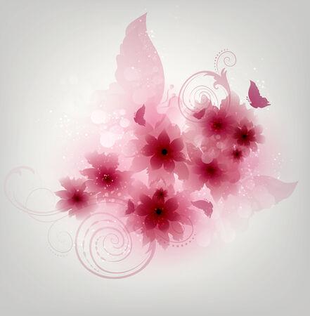 papillon rose: Floral Design fond avec des fleurs et papillons Banque d'images