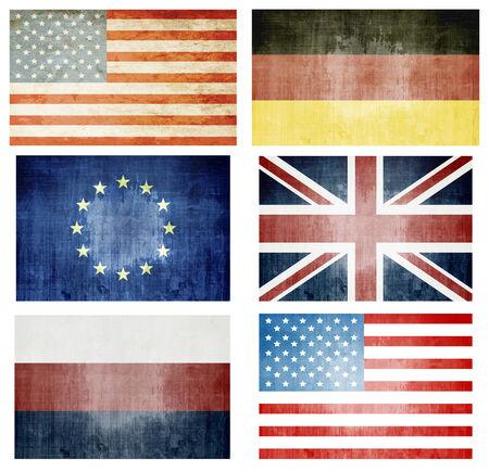 Set Of Grunge Flags  - UK, USA, Europa, Germany, Russia photo