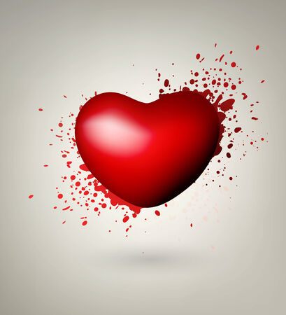 Abstract Heart With Red Splashes On Gray Background Vector