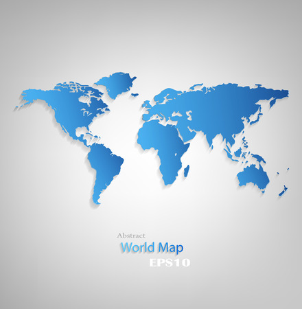 Blue Design World Map On A Gray Background photo