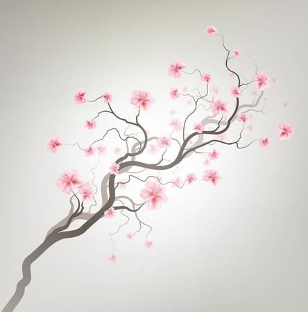 Gray Design Background With Sakura Tree Illustration