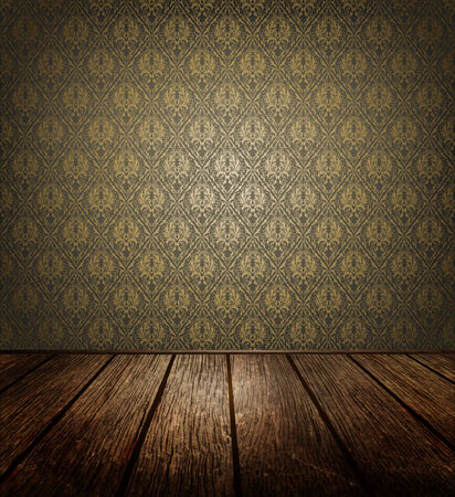 dark room: Old Room With  Ornate Wallpaper And Wooden Floor Stock Photo