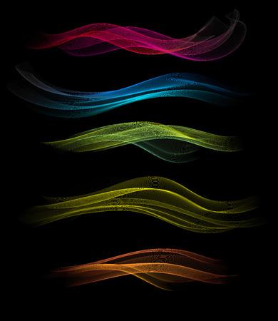 waved: Set Of Abstract Waved Design On A Black Background Illustration