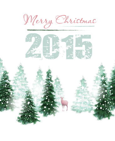 Christmas background with deer and winter trees Vector