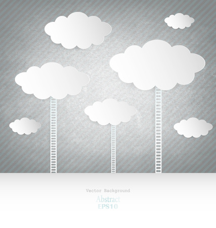 Abstract design Clouds With Ladder On Blue Background Vector