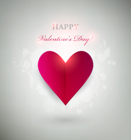 Gray Valentine`s day Background With Bright Red Heart Vector