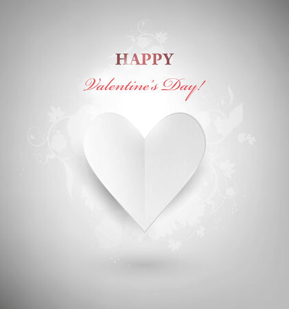Valentines Day Background With Cardboard Heart And Congratulation    Vector