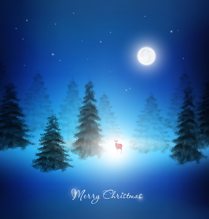 Christmas Night Background Wth Reindeer And Winter Trees Vector
