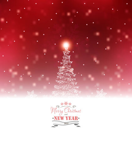 Christmas Background With Tree And Snow Vector