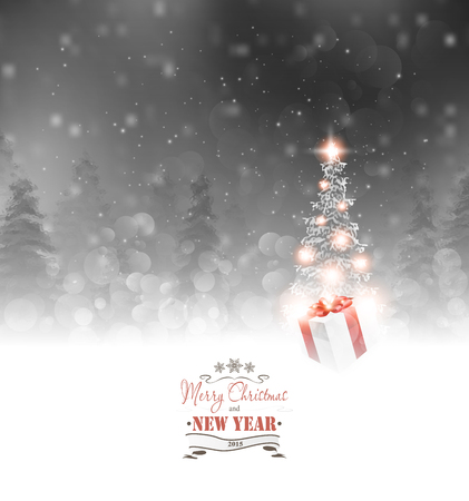 blizzard: Christmas Background With Fir, Gift And Star