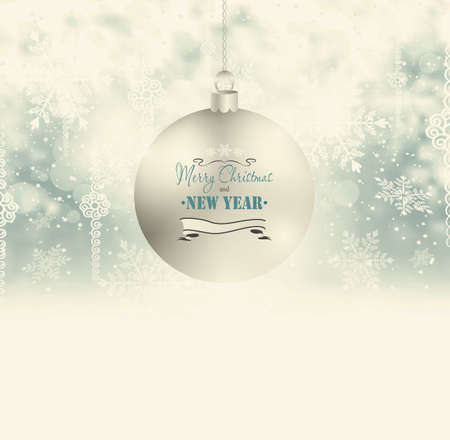 Holiday Background With Christmas Ball, Snow And Snowflakes