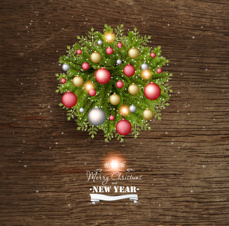 Christmas Card With Pine Branches And Christmas Balls On a Wooden Background Vector