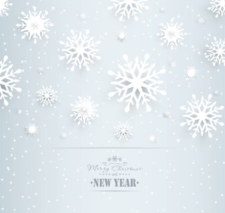 Christmas Design Holiday Background With Snowflakes And Title Inscription Vector