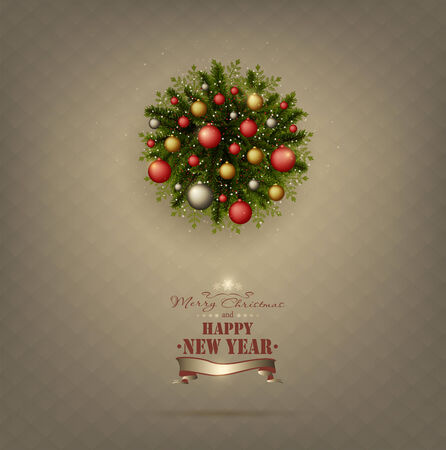 Background With Christmas Wreath And Title Inscription photo