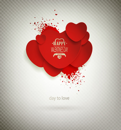 Valentines Day Background With Hearts And Title Inscription Vector