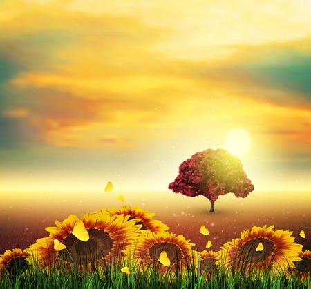 Summer Landscape With Field, Sky, Sun, Sunset, Tree, Grass, Sunflowers And Butterflies Vector