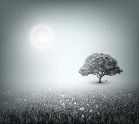 Summer Evening Landscape With Field, Sky, Tree, Grass, Moon And Butterflies Vector