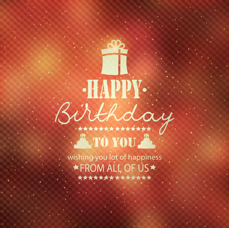 birthday wishes: Happy Birthday Background With Stars, Gift And Title Inscription
